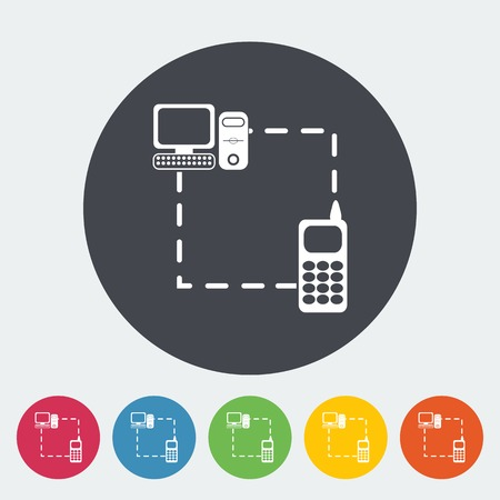 sync: Phone sync. Single flat icon on the button. Vector illustration. Illustration