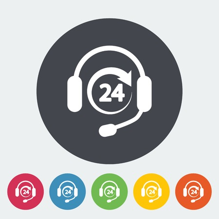 support phone operator in headset: Support 24 hours. Single flat icon on the button. Vector illustration.