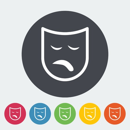 theather: Theatrical mask. Single flat icon on the button. Vector illustration. Illustration