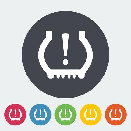 Tire Pressure. Single flat icon on the button. Vector illustration.