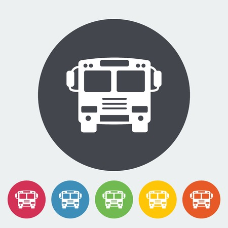 Bus. Single flat icon on the circle. Vector illustration. Vector