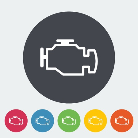 auto parts: Engine. Single flat icon on the circle. Vector illustration.