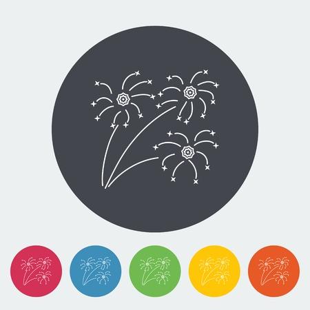 newyears: Firework. Single flat icon on the circle. Vector illustration.