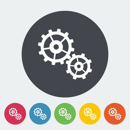 Gear. Single flat icon on the circle. Vector illustration. Vector