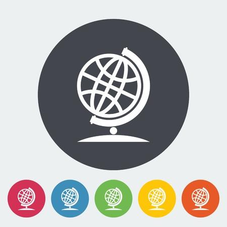 School globe. Single flat icon on the circle. Vector illustration. Vector