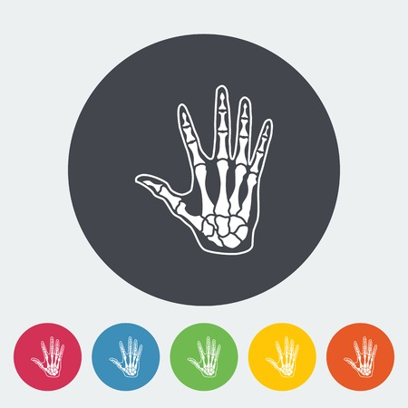 wrist joint: Anatomy hand. Single flat icon on the circle. Vector illustration.