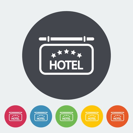 Hotel. Single flat icon on the circle. Vector illustration. Vector