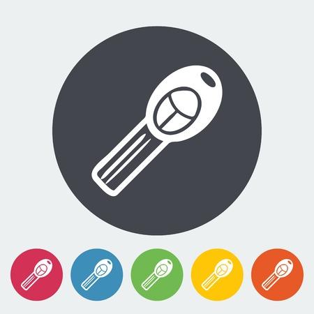 ignition: Ignition key. Single flat icon on the circle. Vector illustration. Illustration