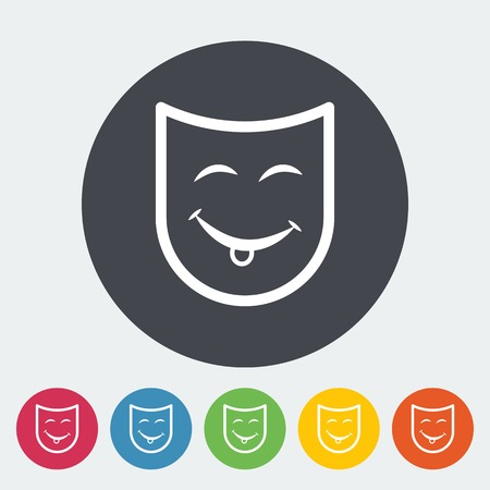 green face: Theatrical mask. Single flat icon on the circle. Vector illustration.