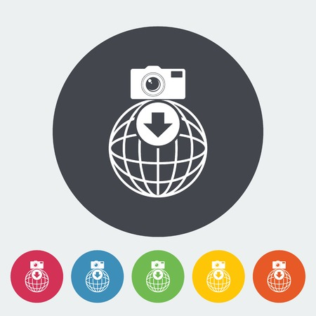 Photo download. Single flat icon on the circle. Vector illustration. Vector