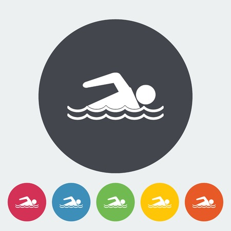 Pool. Single flat icon on the circle. Vector illustration. Vector