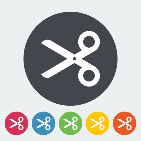Scissors. Single flat icon on the circle. Vector illustration. Vector