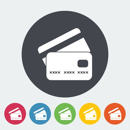 credit card payment: Credit card. Single flat icon on the circle. Vector illustration.