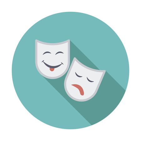 theather: Theatrical mask. Single flat color icon. Vector illustration.