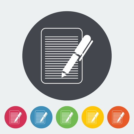 notarized: Document. Single flat icon on the circle. Vector illustration.
