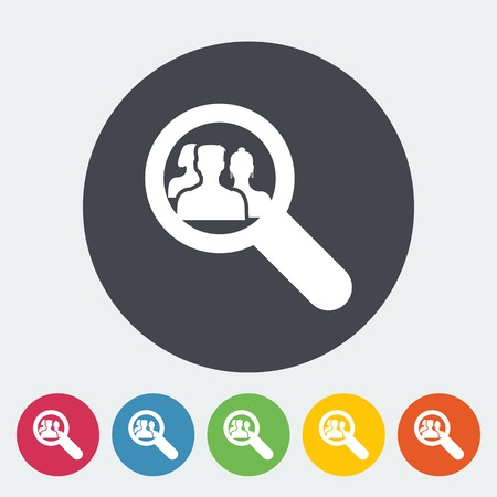 headhunter: Find friends. Single flat icon on the circle. Vector illustration.