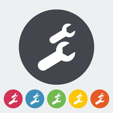pictogramme: Wrench. Single flat icon on the circle. Vector illustration.