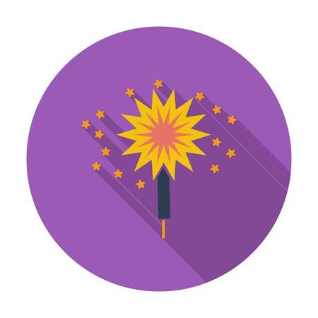 sparkler: Sparkler. Single flat color icon. Vector illustration.