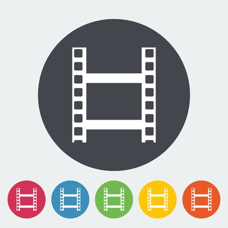 videotape: Videotape. Single flat icon on the circle. Vector illustration.