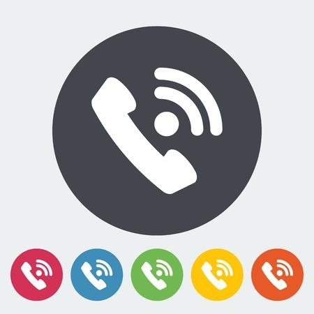 digitized: Tel�fono icono plana �nica.