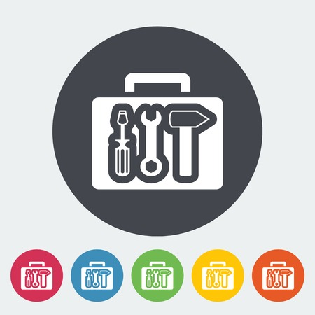 Tool box single icon. Vector