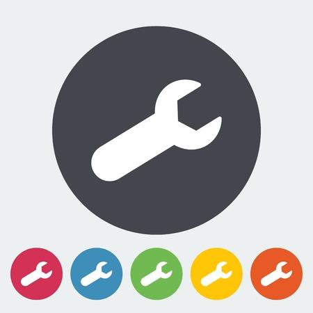 pictogramme: Wrench single flat icon. Illustration