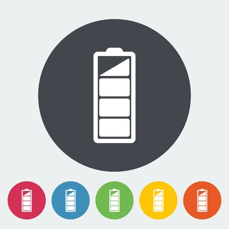 Charging the battery. Single flat icon on the circle. Vector illustration. Vector