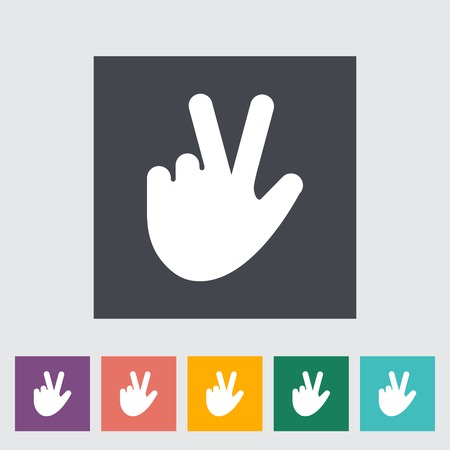 Hand sign. Single flat icon on the button. Vector illustration. Vector