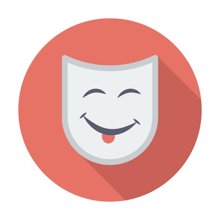 Theatrical mask. Single flat color icon. Vector illustration. Vector