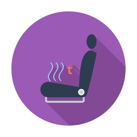 heated: Heated seat. Single flat color icon. Vector illustration.