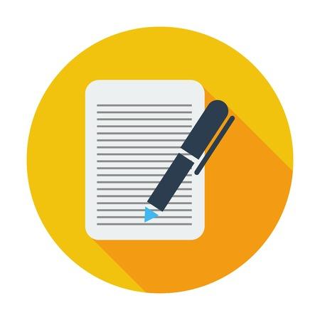 notarized: Document. Single flat color icon. Vector illustration. Illustration