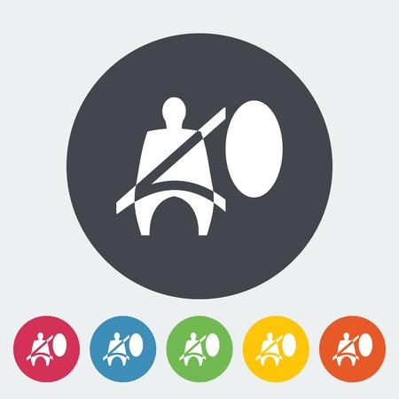 airbag: Seat belt. Single flat icon on the circle. Vector illustration. Illustration