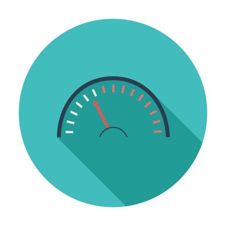 kph: Speedometer. Single flat color icon. Vector illustration.