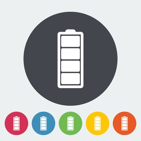Full battery. Single flat icon on the circle. Vector illustration. Vector
