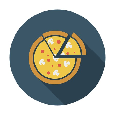 italian sausage: Pizza. Single flat color icon. Vector illustration. Illustration