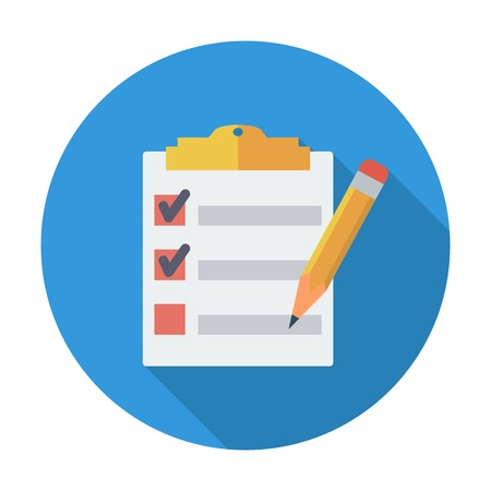 checklist: Clipboard with pen. Single flat color icon. Vector illustration.
