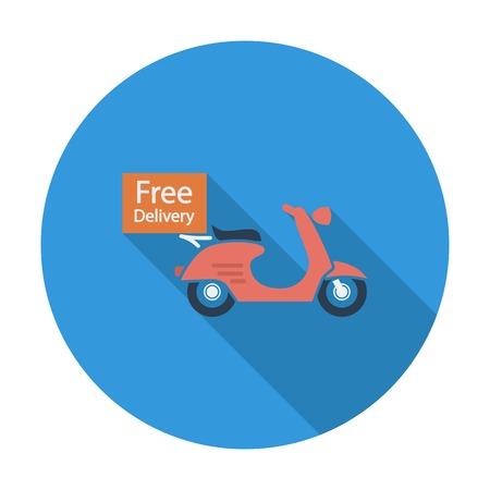 vespa: Free Delivery. Single flat color icon. Vector illustration.
