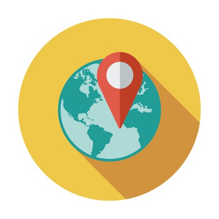 Globe with pin. Single flat color icon. Vector illustration. Vector