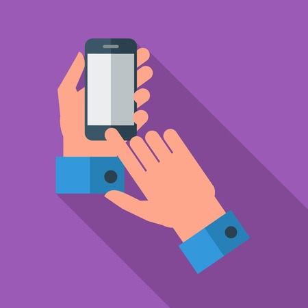 Hands holding Mobile phone. Flat icon whit long shadow. Vector illustration Vector