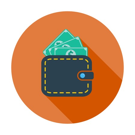 Purse with dollar. Single flat color icon. Vector illustration. Vector