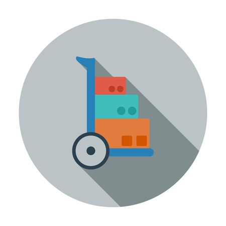 Hand Truck. Single flat color icon. Vector illustration. Vector
