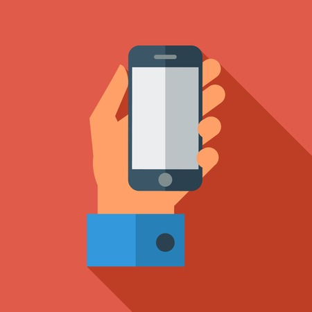 Hand holding Mobile phone. Flat icon whit long shadow. Vector illustration Vector