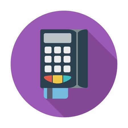 pos: POS terminal. Single flat color icon. Vector illustration.