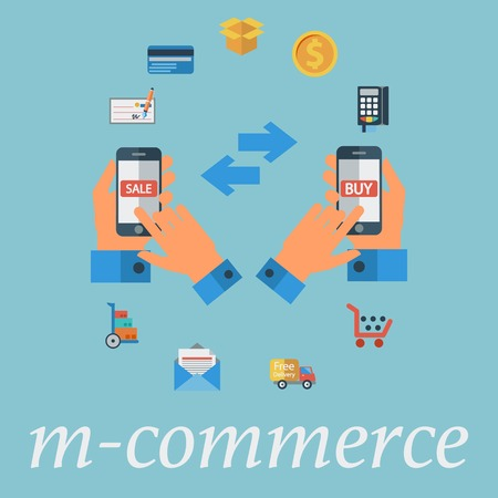 M-commerce. Color Flat design style. Vector illustration. Vector