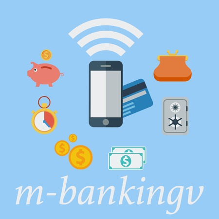 M-banking. Color Flat design style. Vector illustration. Vector