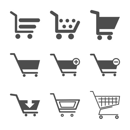 shopping cart isolated: Shopping cart grey icons set. Vector illustration.
