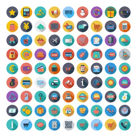 Shopping icons set. Color Flat design style with long shadow. Vector illustration. Stock Illustratie