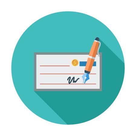 Bank check. Single flat color icon. Vector illustration.