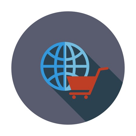 spherule: Global shopping. Single flat color icon. Vector illustration.