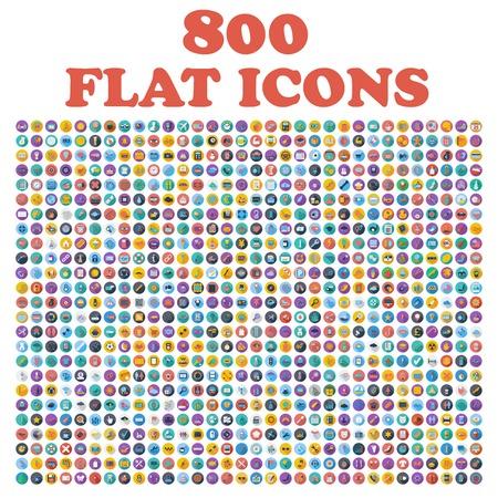 Conjunto de 800 ícones planas, para web, internet, aplicativos móveis, design de interface: negócios, finanças, compras, comunicação, fitness, computador, mídia, transporte, viagens, Páscoa, Natal, verão, dispositivo Ilustración de vector